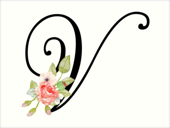 Floral monogram fancy script letter v art prints by grafixmom floral monogram fancy script letter v by grafixmom thecheapjerseys Gallery