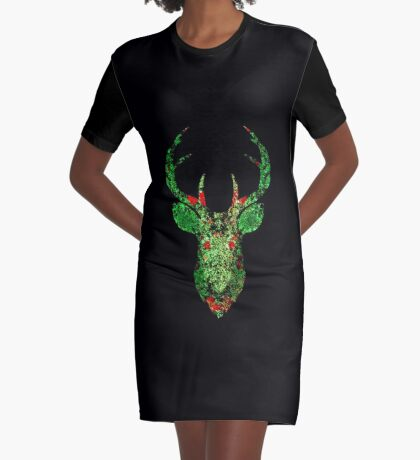 Floral Deer Graphic T-Shirt Dress