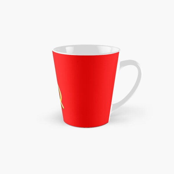 RUSSIA. USSR. Communist. Soviet Union. Hammer & Sickle. GOLD on RED. Tall Mug