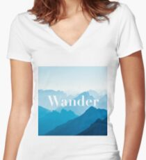 """Zen """"Wander"""" Blue Mountains Calming Poster Women's Fitted V-Neck T-Shirt"""