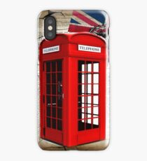 rustic grunge union jack retro london telephone booth iPhone Case