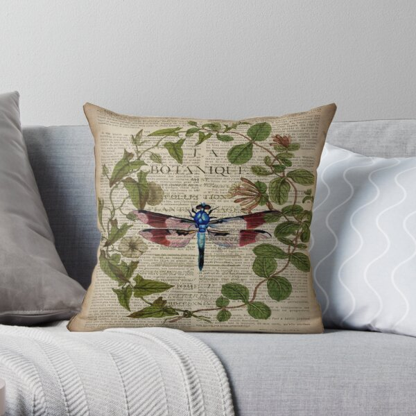 modern leaves botanical art vintage french dragonfly Throw Pillow