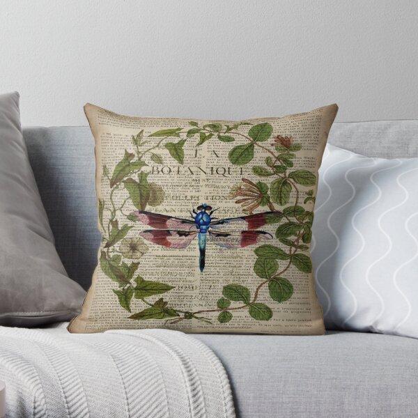 feuilles modernes botanique art vintage french libellfly Coussin