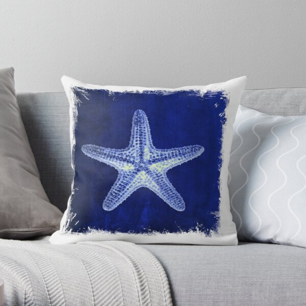 coastal seaside ocean navy blue beach chic starfish Throw Pillow