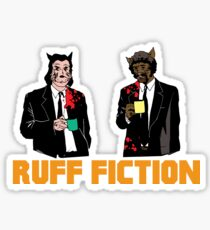 Ruff Fiction Movie Dog Parody Sticker
