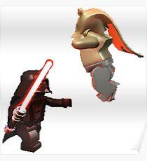 Vader Chokes Jar Jar Poster
