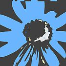 Retro pretty daisy blue black RMPD01 by HEVIFineart