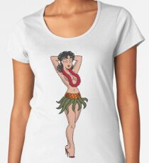American Traditional Hula Girl Women's Premium T-Shirt