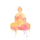 Orange and Yellow Buddha Watercolor Design | Spiritual Home Decor by Thubakabra