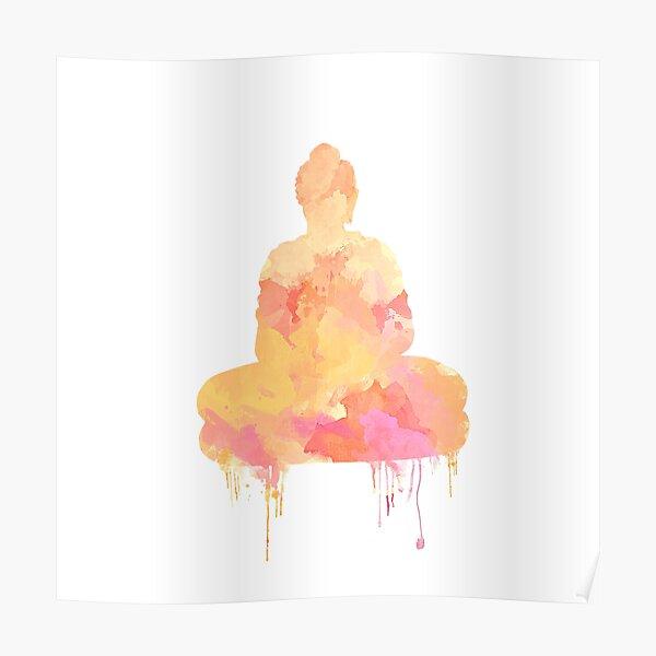 Orange and Yellow Buddha Watercolor Design | Spiritual Home Decor Poster