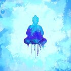 Blue Buddha Watercolor Illustration | Zen and Spiritual Design for a Peaceful Home by Thubakabra