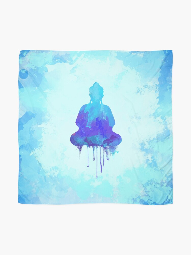 Alternate view of Blue Buddha Watercolor Illustration | Zen and Spiritual Design for a Peaceful Home Scarf