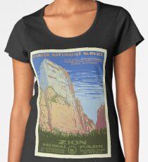 Zion National Park Vintage Poster Women's Premium T-Shirt