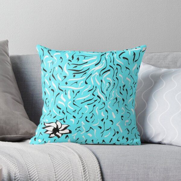Random doodle 3 turquoise with flower  Throw Pillow