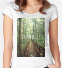 Wanderlust Woods Nature Design- Poster, Pillow, Art Board, Sticker Women's Fitted Scoop T-Shirt