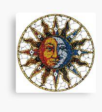 Celestial Mosaic Sun and Moon COASTER Canvas Print