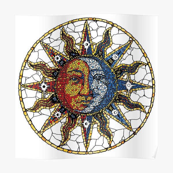 Celestial Mosaic Sun and Moon COASTER Poster
