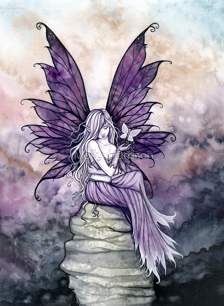Letting Go Fairy Art with White Butterfly by Molly  Harrison