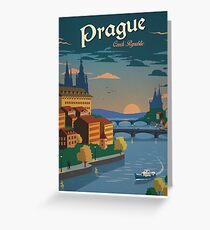 Vintage Travel Poster - Prague Greeting Card