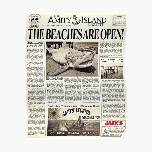 Jaws - Newspaper Front Page Poster