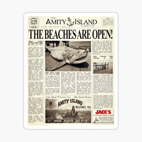 Jaws - Newspaper Front Page Sticker