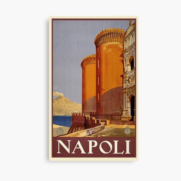 Naples With Mt. Vesuvius Travel Poster  Canvas Print