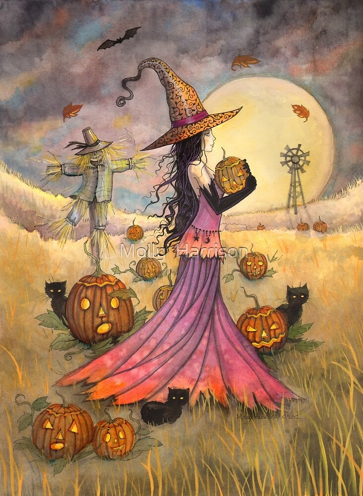 Quot October Fields Halloween Witch And Scarecrow Fantasy Art