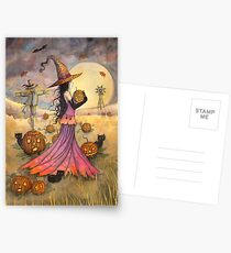 October Fields Halloween Witch and Scarecrow Fantasy Art Postcards