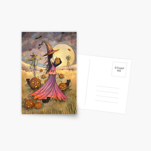 October Fields Halloween Witch and Scarecrow Fantasy Art Postcard