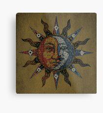 Lámina metálica Vintage Celestial mosaic Sun & Moon