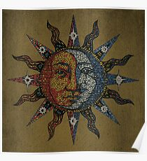 Vintage Celestial mosaic Sun & Moon Poster