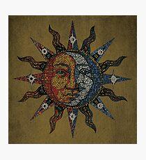 Vintage Celestial mosaic Sun & Moon Photographic Print