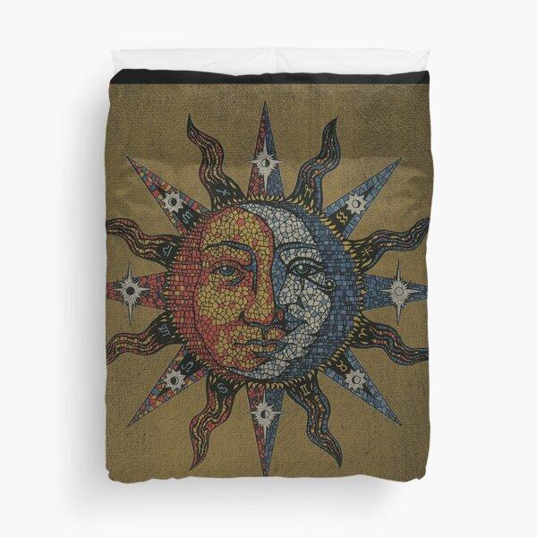 Vintage Celestial mosaic Sun & Moon Duvet Cover