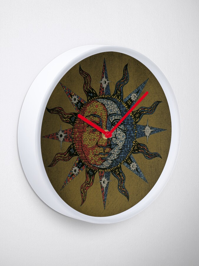 Alternate view of Vintage Celestial mosaic Sun & Moon Clock