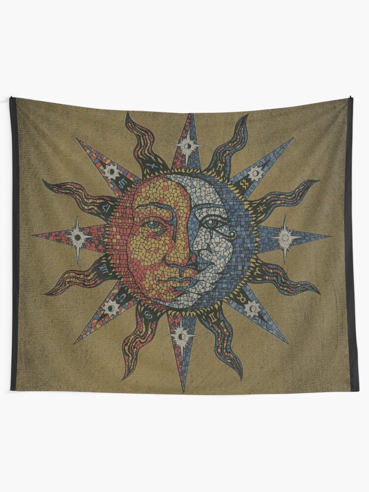 Alternate view of Vintage Celestial mosaic Sun & Moon Tapestry
