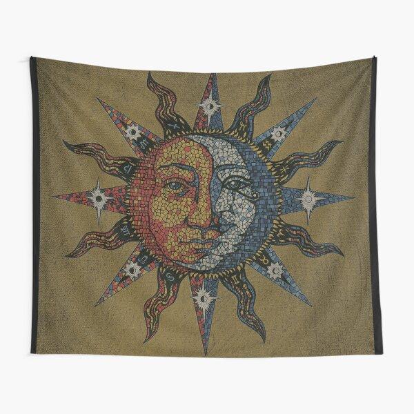Vintage Celestial mosaic Sun & Moon Tapestry