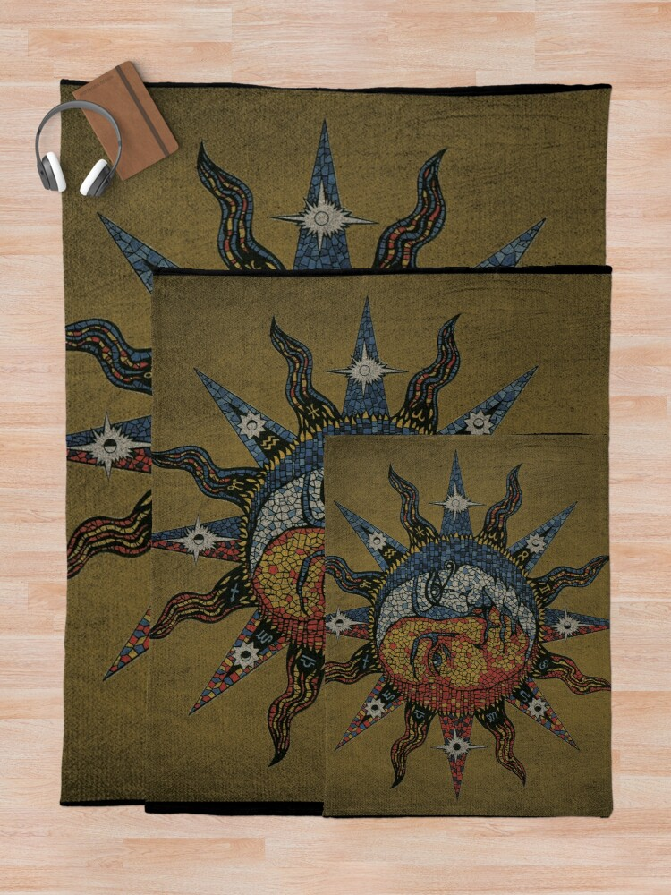 Alternate view of Vintage Celestial mosaic Sun & Moon Throw Blanket