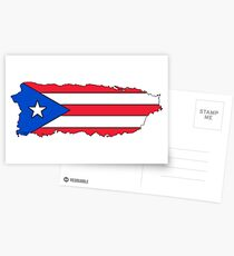 Puerto Rico Map with Puerto Rican Flag Postcards
