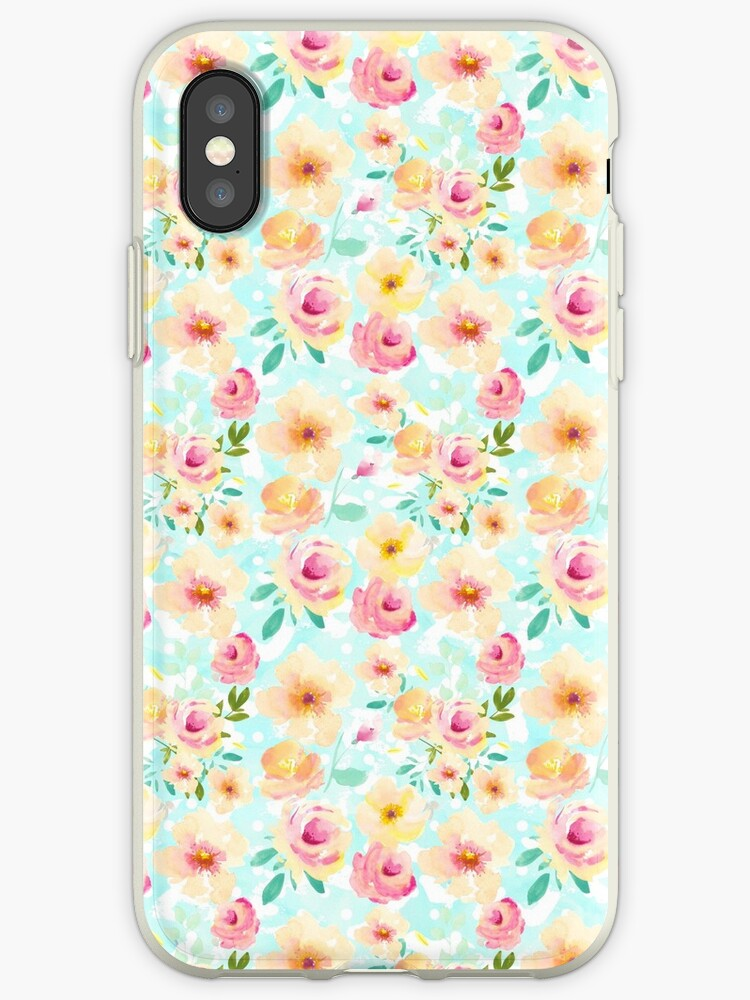 Pink Yellow Mint Watercolor Floral by pencreations