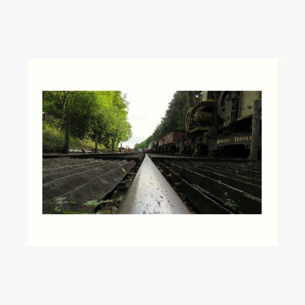 Railway track and trucks Art Print