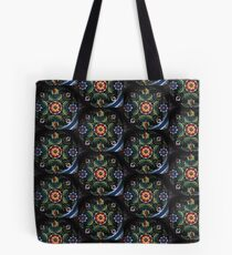 Viking Folk Rose Floral Art Tole Rose Black Red Green Flower Power Kirsten Duvet Material Fabric Tote Bag