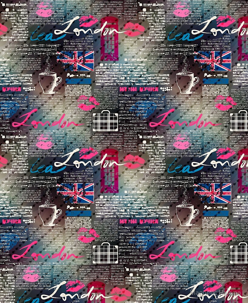 London Newspaper Print Pattern with Red Telephone Booths, Rain, Tea and the British Flag by MagneticMama