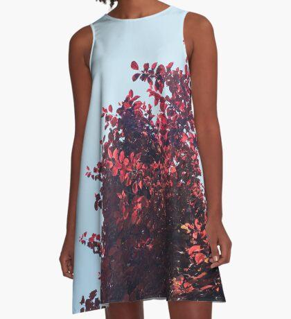 Lieber roter Baum A-Linien Kleid