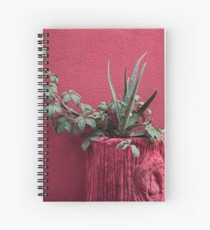 Rosa und Pflanze Spiralblock
