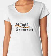 My Tiger Ate My Homework-Calvin and Hobbes Women's Premium T-Shirt