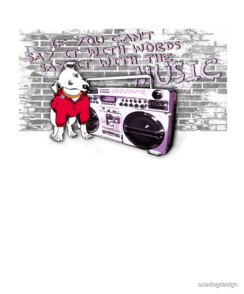 Little Dog listen to the Music by onedogdesign