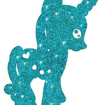 Turquoise glitter little horse, blue unicorn by kassandry31