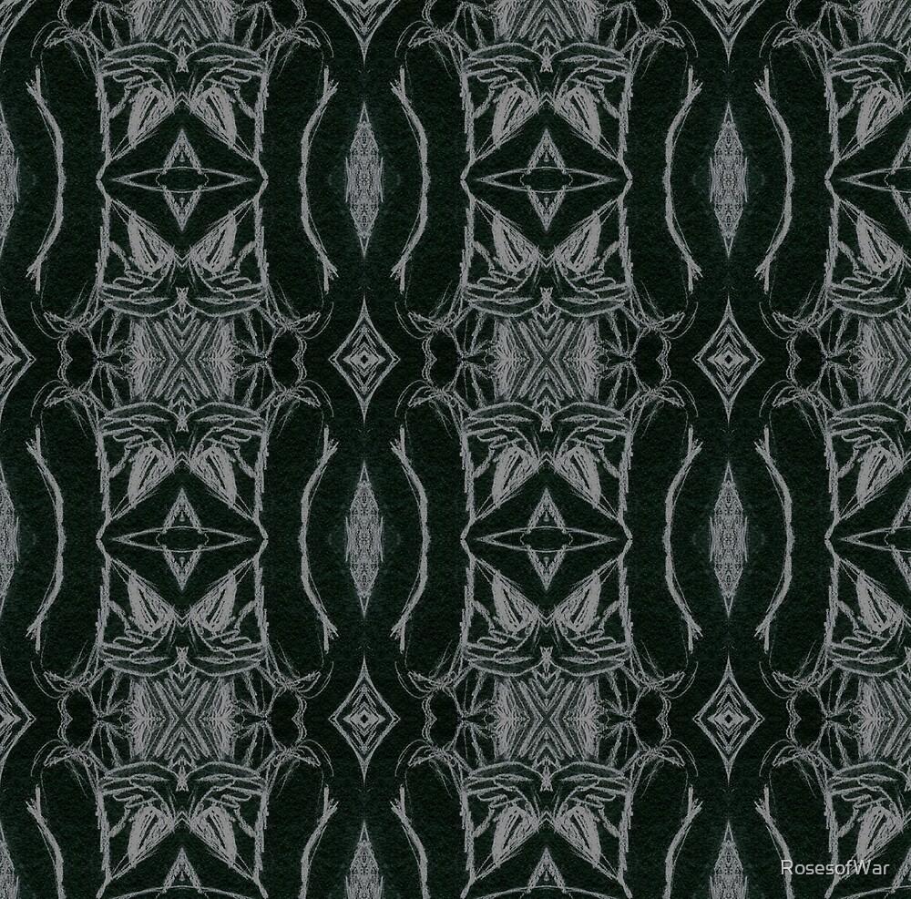 Silver on Ebony Hourglass Diamond Pattern by RosesofWar