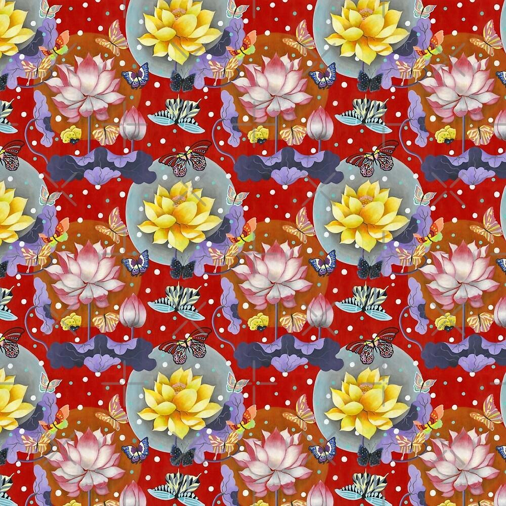 Lotus and Butterflies in Red by ninahuangstudio