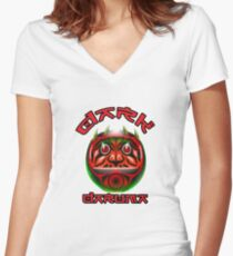 Dark Daruma Doll Women's Fitted V-Neck T-Shirt